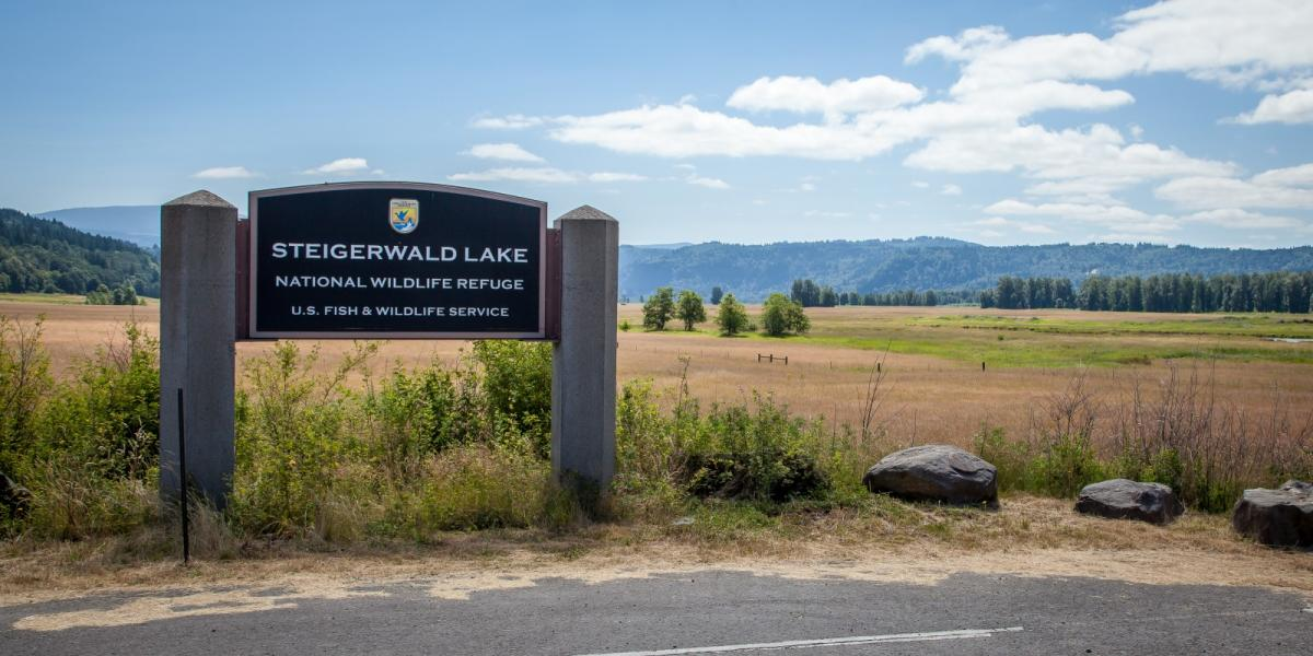 Steigerwald Lake National Wildlife Refuge sign with wide field and trees behind