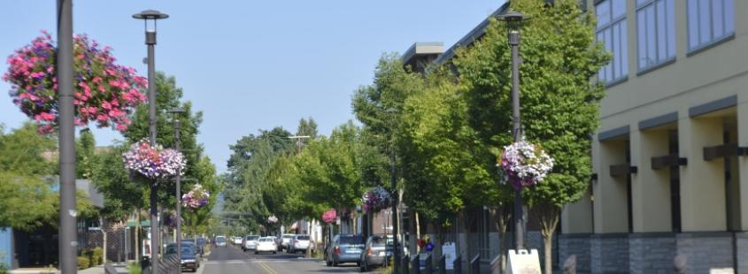 Street in Downtown Washougal lined with buildings, trees, and hanging flower baskets